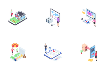Business and Finance Isometric Icon Pack