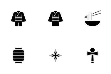 Japanese Culture Solid Style Icon Pack