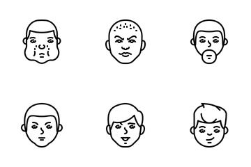 Jellycons - Outline - Men Faces Vol.1 Icon Pack