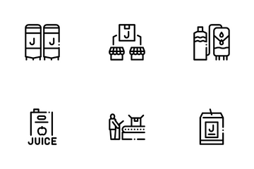 Juice Production Plant Icon Pack