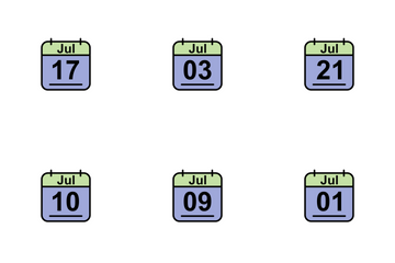 July Calendar 2017 2 - Line Filled Icon Pack
