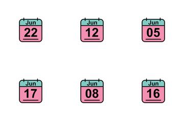 June Calendar 2017 2 - Line Filled Icon Pack