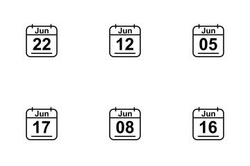 June  Calendar 2017 Line Icon Pack
