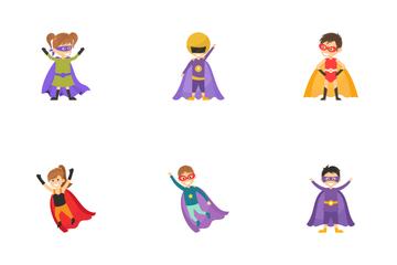 Kid Superheroes Cartoon Characters Icon Pack