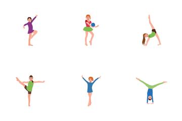 Kids Gymnastics Poses Icon Pack