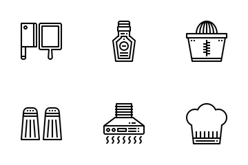 Kitchen Accessories Fill Outline Icon Pack
