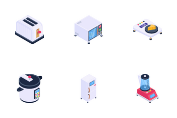 Kitchen Appliances And Households Icon Pack
