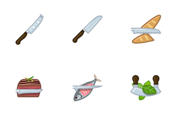 Kitchen Knifes & Cutting Icon Pack