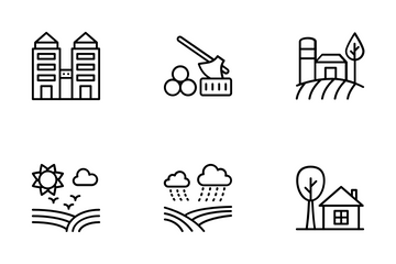 Landscapes With Agricultural Field Icon Pack