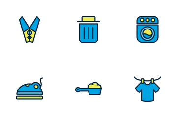 Laundry And Wash Filled Outline Icon Pack