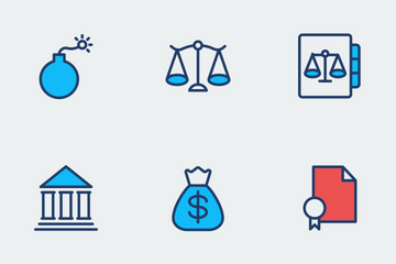 Law And Justice Flat Color Icon Pack