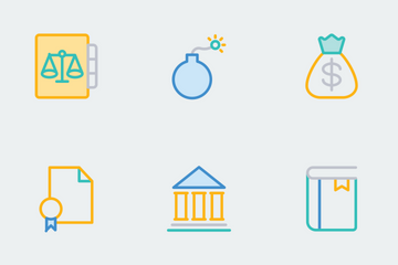 Law And Justice Line Color Icons Icon Pack