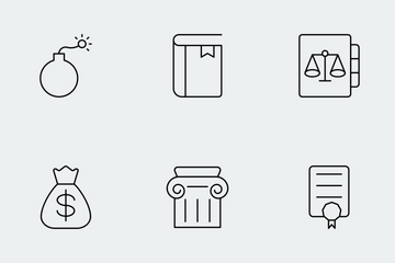 Law And Justice Thin Line Icons Icon Pack