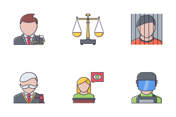 Law Filled Outline Icon Pack