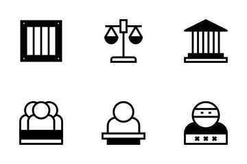 Law & Justice Glyph Style Icon Pack