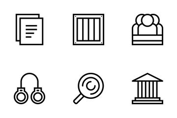 Law & Justice Outline Style Icon Pack