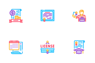 License Certificate Icon Pack