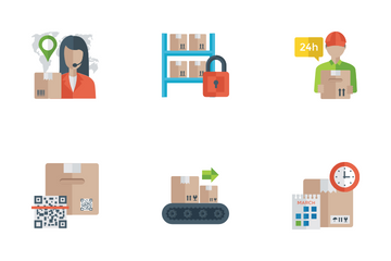Logistic Delivery Flat Icons Icon Pack