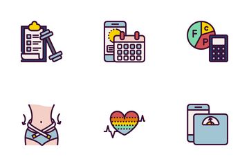 Lose & Gain Weight Filled Outline Style Icon Pack