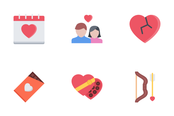 Love Flat Icon Pack