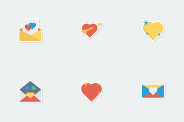 Love & Romance Flat Paper Icons Icon Pack