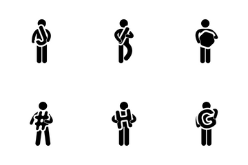 Man Holding Characters Icon Pack
