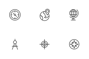 Map And Location Thinline Icon Pack