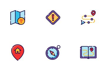 Maps & Navigation Filled Outline Icon Pack