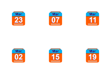 March  Calendar 2017 - 4 - Flat Icon Pack