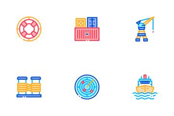 Marine Port Transport Icon Pack