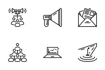 Marketing And Advertising  Line Icon Pack
