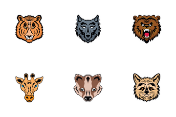 Mascots Animal Faces Icon Pack
