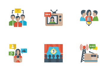 Media And Communication Flat Icons Icon Pack
