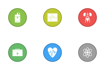 Medical Glyph Round Circle Multicolor B/G Icon Pack