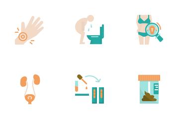 Medical Symptoms Flat Design Icon Set. Icon Pack