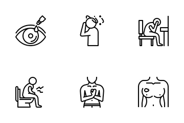 Medical Symptoms Outline Icon Set. Icon Pack