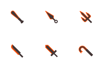 Melee Weapon Orange Icon Pack