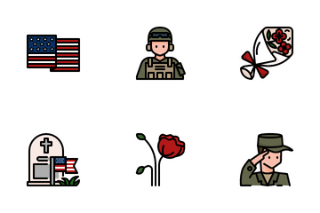 Memorial Day And Military Icon Pack