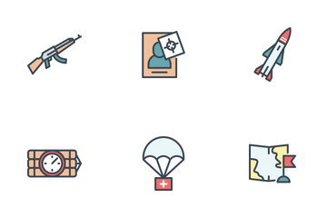 Military Filled Outline Icon Pack
