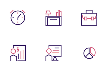 Minimalist And Colored Business Icon Set Icon Pack