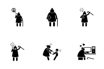 Mobile Addicted Old Lady Icon Pack