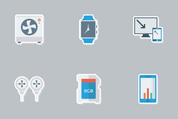 Mobile & Smart Devices Flat Paper Icons Icon Pack