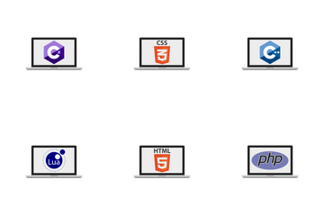 Monitors With Programming Languages Icon Pack
