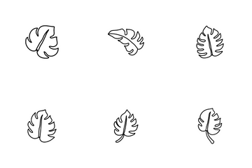 Monstera Tropical Leaves Icon Pack