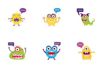 Monsters Growling And Screaming - Flat  Icon Pack