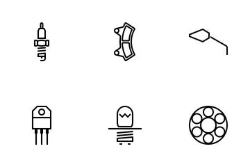 Motorcycle Parts Outline Icon Pack