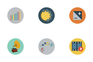 Multimedia Flat Icons Icon Pack