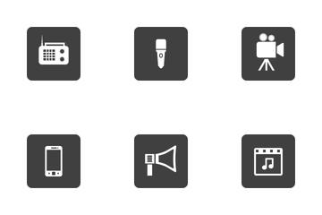 Multimedia Round Corner Icon Pack