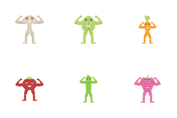 Muscular Fruits And Vegetables Icon Pack