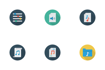 Music, Audio, Video Flat Circle Shadow Vol 1 Icon Pack